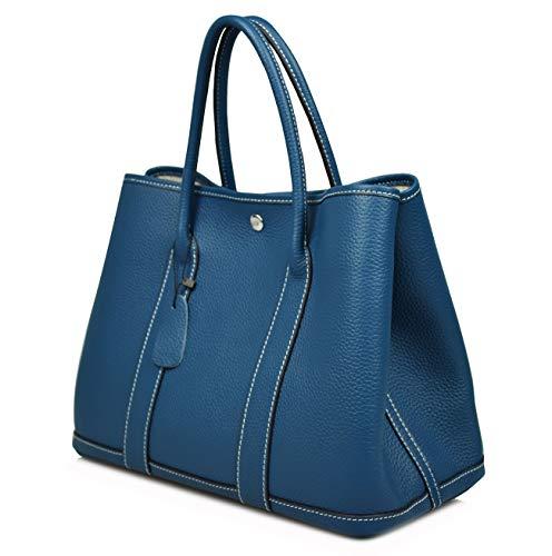 Esyuel Women's Genuine Leather Garden Tote Bag Top Handle Handbags 36CM, Peacock Blue, Large