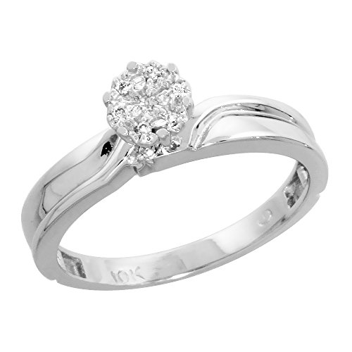 Ring 10k Gold Cluster - 10k White Gold Diamond Engagement Ring Women Cluster Set 0.05 cttw 1/8 inch 3.5mm wide Size 7
