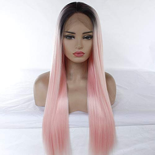 BAOFU Wig Gradient Long Straight Hair Half Hand Hook Front Lace High Temperature Silk Lady Wig Set Black Powder Gradient 65Cm 340G - Powder 340g