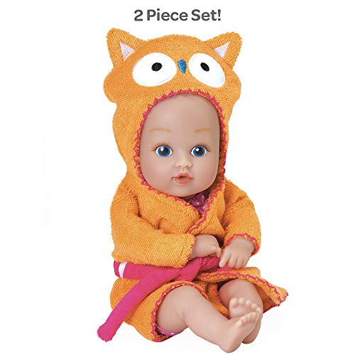 Adora BathTime Baby Tot Owl small 8.5 Inch washable BathTub Water Safe Soft Body Vinyl Fun Play Toy Doll for Boy or Girl Children and Toddlers 1 Year Old and up