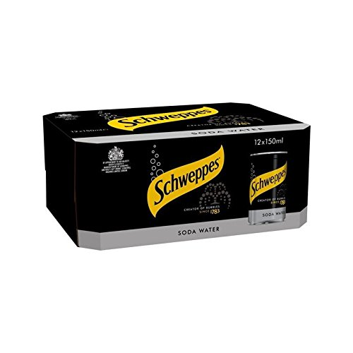 (Schweppes Soda Water Mini Cans 12 x 150ml (Pack of 2))