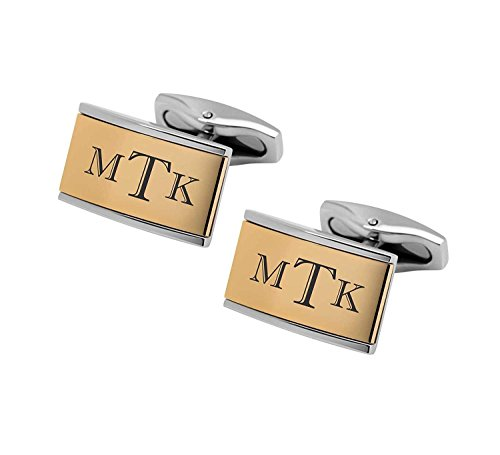 Set Two Tone Cufflinks - Personalized Silver & Gold Two Tone Cufflinks Custom Monogram Engraved Free