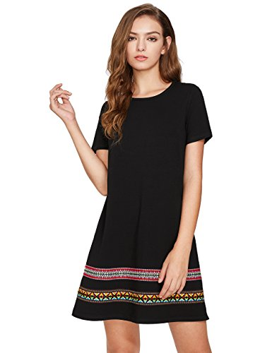 Boho-Chic Vacation & Fall Looks - Standard & Plus Size Styless - ROMWE Women's Boho Short Sleeve Loose Casual Embroidered Tunic Dress Black XXL