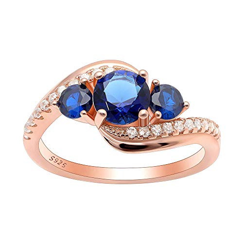 Ginger Lyne Collection Brielle Rose Gold Over Sterling Silver 3 Stone Blue CZ Birthstone Engagement Ring Size 7 (Brielle Collection)