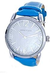 Anne Klein Women's White Dial Blue Leather Band Watch AK/1551WTBL