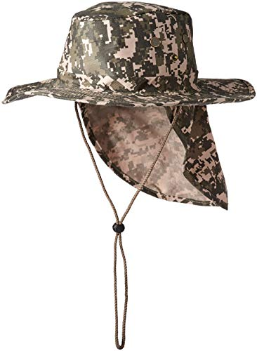 b8c32e5182a33 Military Camouflage Boonie Bush Safari Outdoor Fishing Hiking Hunting  Boating Snap Brim Hat Sun Cap with Neck Flap (B00MQ6GWE4)