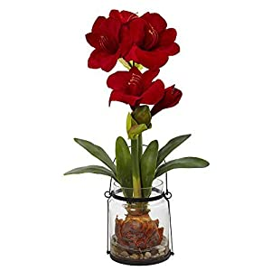 "Nearly Natural Amaryllis with Vase Floral Decor, 24"", Red 3"