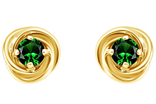 - Round Cut Simulated Green Emerald Love Knot Stud Earrings In 14K Yellow Gold Over Sterling Silver