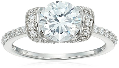 Sterling Silver Cubic Zirconia Round Solitaire Fashion Engagement Ring