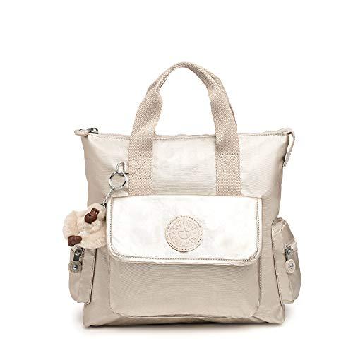 Kipling Revel Metallic Convertible Backpack Cloud Grey Metallic
