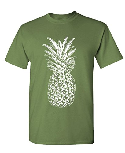 SKULL PINEAPPLE - retro style hipster - Mens Cotton Tee, XL, - Fashion Male Retro