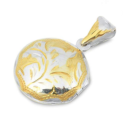 Two Tone Locket - Oxford Diamond Co Sterling Silver Two Tone Round Locket Pendant