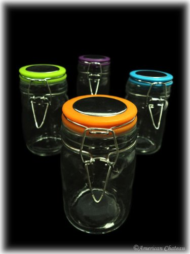 Retro Set 4 Glass Spice Jar Bottles with Colorful Tops