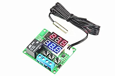 LM YN Digital Thermostat Module DC 5V -20? to +100? Temperature Controller Board Electronic Temperature Control Module Switch Waterproof Sensor Probe Dual LED Display Red+Blue