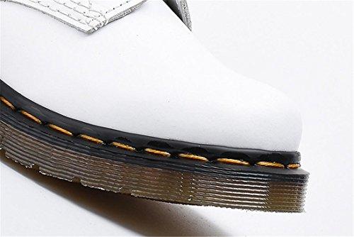 New Up Automne NVXIE Martin Bottes WHITE Antidérapage Locomotive Hiver Courtes Spring White Hommes Boots Fashion EUR44UK10 Flat Cuir de antidérapant Lace Véritable Chaussures Femmes Couple 1qq6n8