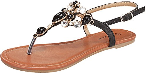 Top Moda Berry-9 Precious Gem Stone and Crystal Embellished Flat Sandal - Black 8 ()