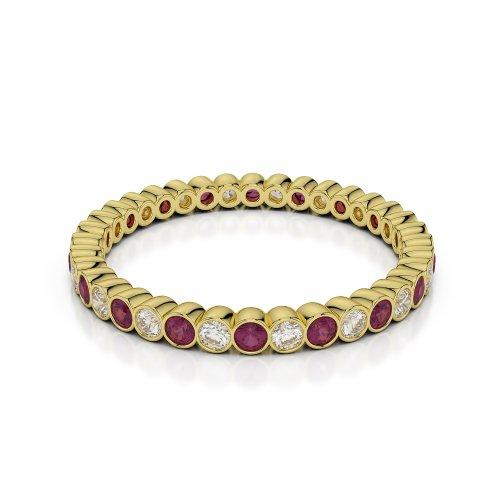 Or jaune 18carats 0,72CT G-H/VS sertie de diamants ronds Cut Rubis et éternité Bague Agdr-1098