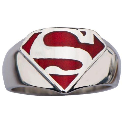 "INOX Superman ""Man of Steel"" Stainless Steel and Red Enamel Signet Ring"