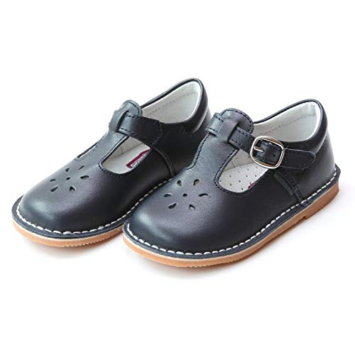 L'Amour Girls T-Strap Mary Janes Navy Leather School/Dress Shoes (Toddler Size 11)
