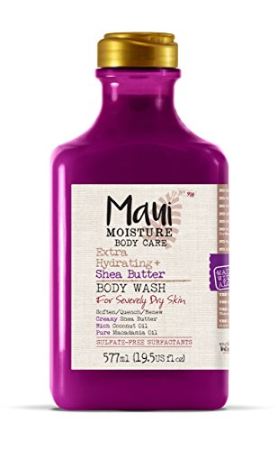 Maui Moisture Shea Butter Body Wash 19.5 Ounce Moisturizing Body Wash Formulated for Dry Skin Normal Skin Combination Skin, with Aloe Vera Juice and Coconut Water, Silicone ()