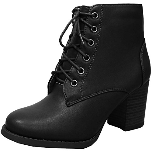Cambridge Zipper Black Up Ankle Bootie Pu Womens Lace Heel Chunky Select ggxfr4w6