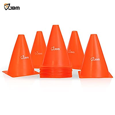 JBM 7-inch Training Cones Sports Cones Traffic Cones Sport Training Cones Soccer Cones Soccer Training Equipment For Soccer Training Drills Speed Agility Drills Cone Drills - Pack of 12
