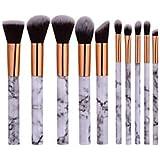 RY@ Beauty Cosmetic Professional Powder Foundation Makeup Full Marble Patterns Makeup Brush Set 10 Pcs Kit
