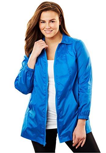 Women's Plus Size Zip Front Nylon Jacket Bright (Ladies Nylon Jacket)