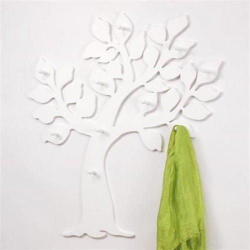 Porte-manteaux mural en forme darbre en panneau MDF Blanc