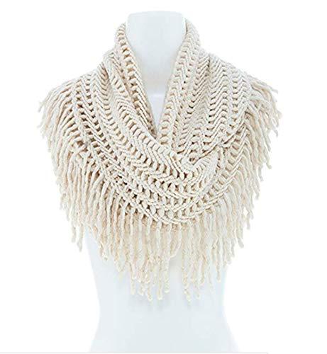 StylesILove Women Cozy Knit Tassel Infinity Loop Scarf - 5 Colors (Ivory)