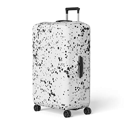 Pinbeam Luggage Cover Speckles Drops of Paint Small Abstract Monochrome Black Travel Suitcase Cover Protector Baggage Case Fits 22-24 inches