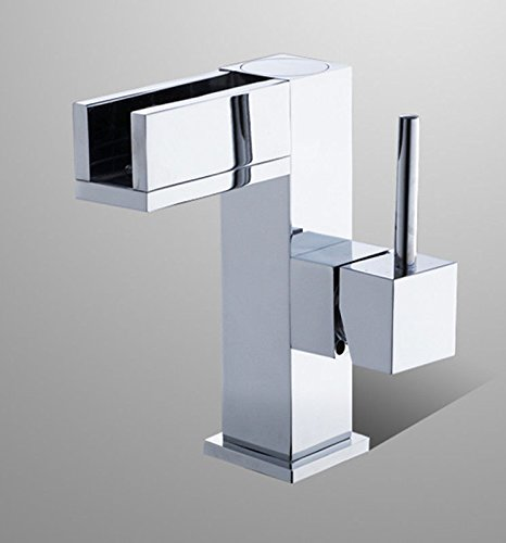QIMEIM Basin Mixer Tap Bathroom Sink Tap Mixer Wash Sink Faucet Brass Single Lever Hot and Cold Water Waterfall Square Single Lever Bathroom Mixer Taps