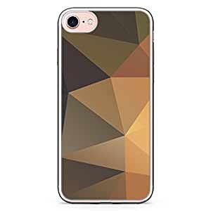 Loud Universe iPhone 8 Plus Transparent Edge Case - Brown Shades Geometrical Pattern