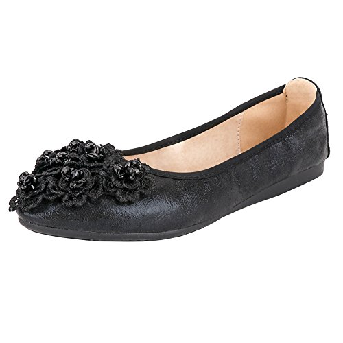 Sparkly Ballerina (Meeshine Women's Ballet Flats Shoes Wedding Flats Black-03 7 US)