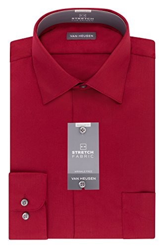 (Van Heusen Men's Dress Shirts Regular Fit Lux Sateen Stretch Solid, Red, 17