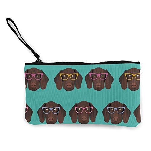 MODREACH Women and Girl German Shorthaired Pointer in Glasses Canvas Coin Purse Zipper Pouch Wallet for Cash Bank Car Passport Coin