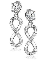 Sterling Silver Cubic Zirconia Infinity Drop Earrings