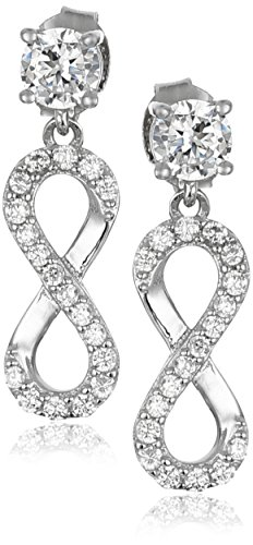 Sterling Silver Zirconia Infinity Earrings