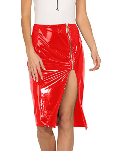 just quella Women Faux Leather Shiny Bodycon PU Pencil Skirts 8852 (XL, Red) (Patent Skirt Leather)