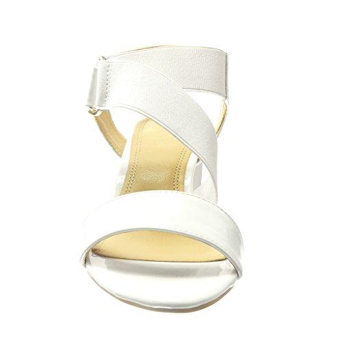 Angkorly - Chaussure Mode Sandale ouverte femme clouté métallique verni Talon haut bloc 6.5 CM - Blanc