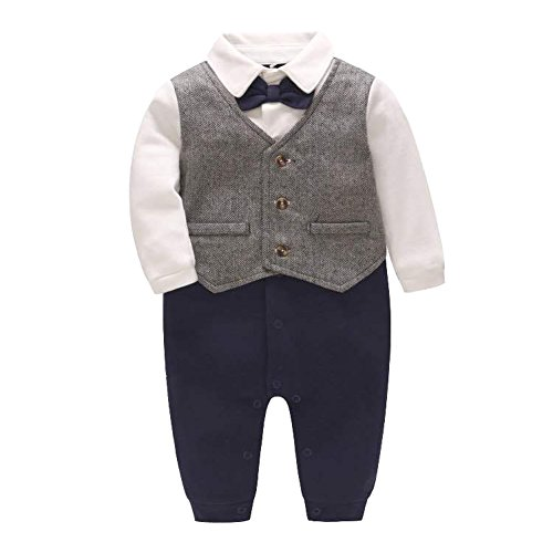 Fairy Baby Baby Boy Gentleman Outfit Formal Romper Infant Tuxedo Dress Suits (3-6 Months, Silver - Christmas Tuxedo