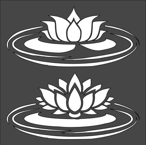 1-5.5x5.5 inch Custom Cut Stencil, Lily Pad Lotus Flower, (BB-23)