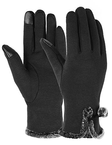 Touch Screen Gloves Women Lined Thick Winter Warm Gloves Outdoor Black, One Size