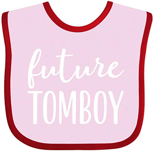 Inktastic - Future Tomboy Girls Funny Baby Bib Pink and Red 2aae3