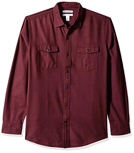 Amazon Essentials Men's Regular-Fit Long-Sleeve Solid Flannel Shirt