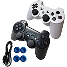 2 Pack Wireless Controller Dualshock 3 Competiable with Sony Playstation 3 Console PS3 Controller, Built-in-Double Vibration Motors with Sensitive Motion Control and Recharging Battery.