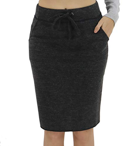 - BENANCY Women's High Waist Stretch Pencil Skirt with Pockets Black S