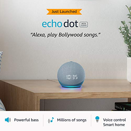 All-new Echo Dot (4th Gen) with clock | Next generation smart speaker with improved bass, LED display and Alexa (Blue)