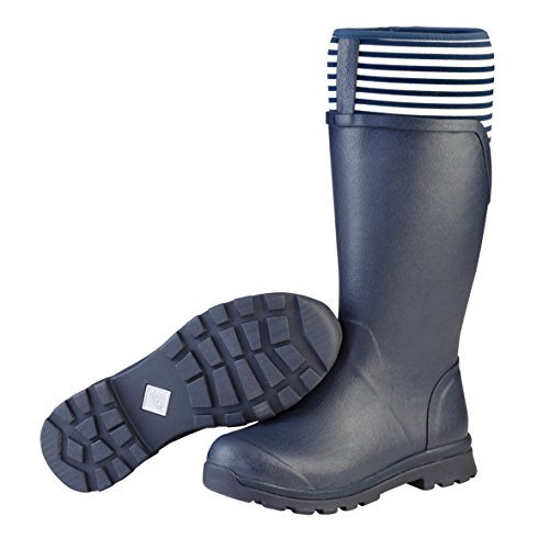 Muck Cambridge Tall Women's Rain Boots, Navy with White Stripe, 11 B US