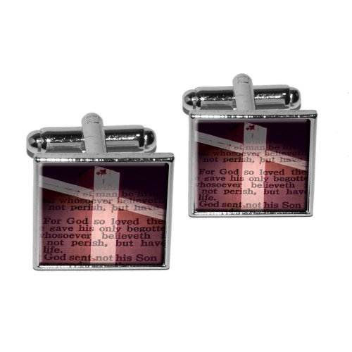 Cross Bible Verse Square Cufflink product image